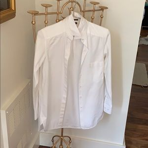 Theory white cotton button down shirt